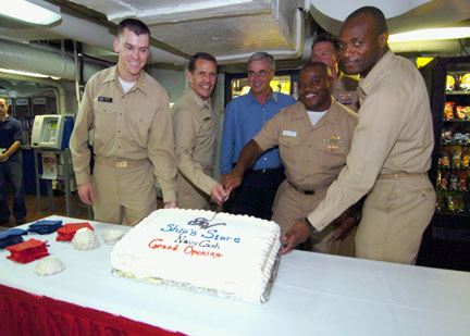 Photograph from the Navy Cash kickoff aboard the USS George Washington